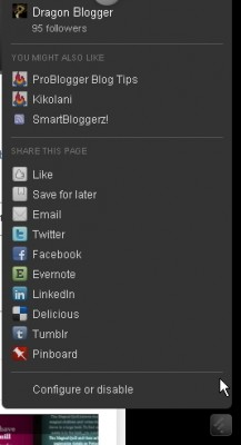 The floating share bar in feedly