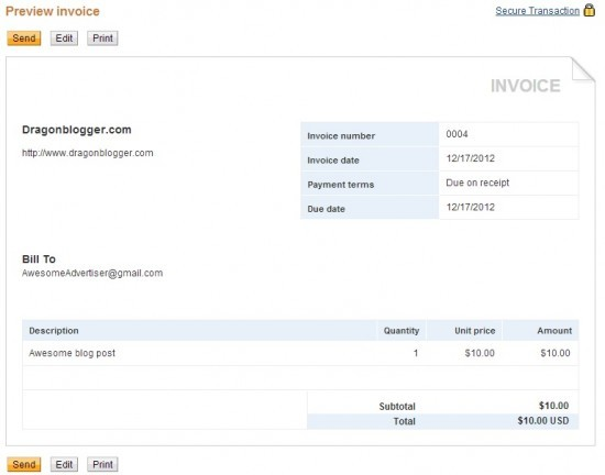 Dragonblogger PayPal Invoice Sample