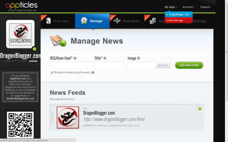 Appticles Manage Account