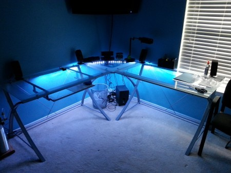 Glass Desk Blue LED Lights