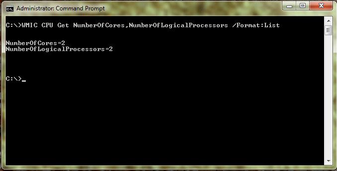 windows 7 cmd logical cpu cores