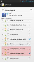 Facebook app and Xprivacy