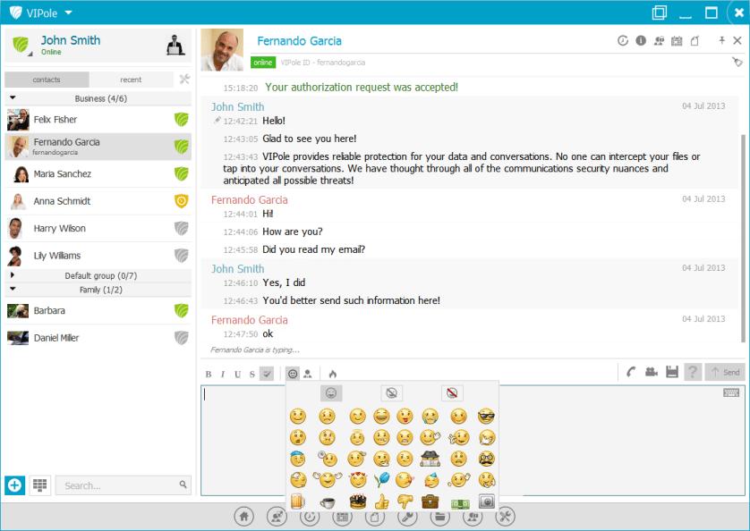 05 secure messaging, emoticons - VIPole Secure Messenger