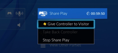 Share Play is accessible through party chat with the time displayed on how long someone can play.