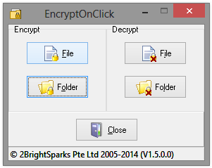 EncryptOnClick Main Window