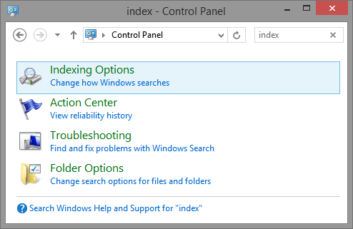 Control Panel-Indexing Options