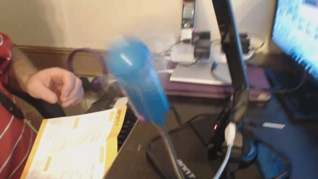A USB fan running from the lamp's USB port.