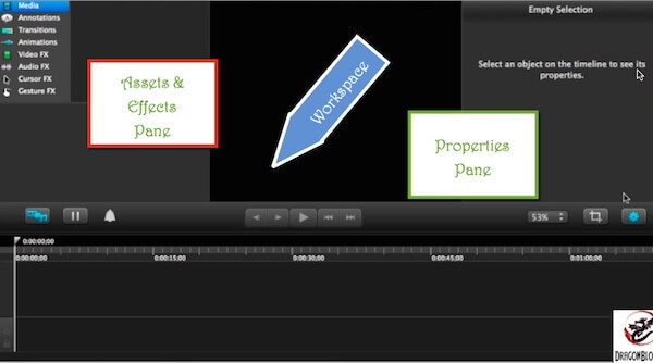 Camtasia for Mac v2 Workspace