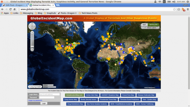 global incident map suspicious terrorist activity and event map