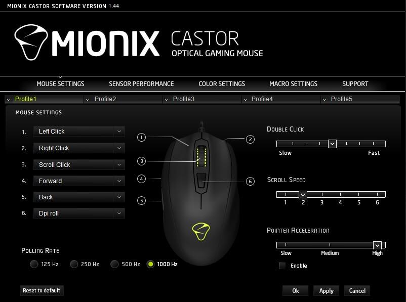 mionix castor mouse setting