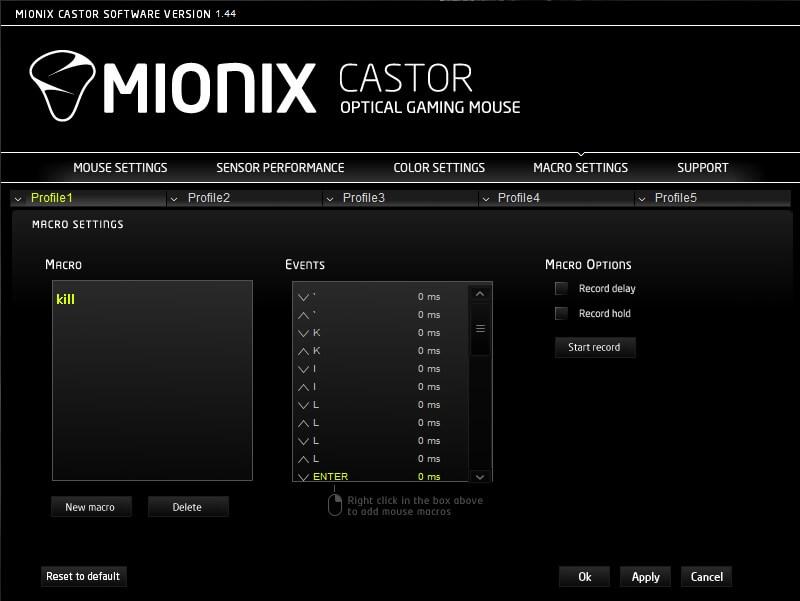 mionix castor Macro