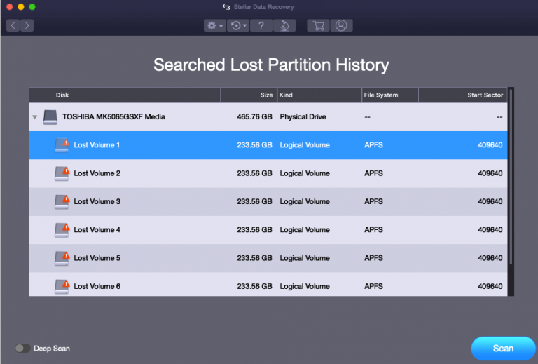 Lost Partition Recovery - Stellar Mac Data Recovery