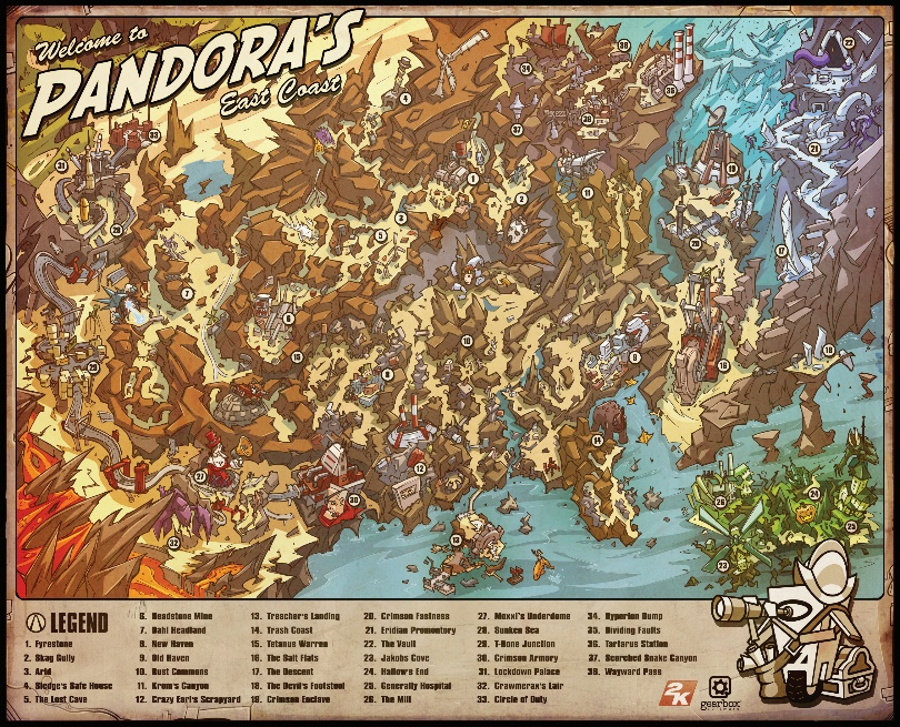 Has anyone made a world map of Pandora [BL1 + BL2]? : Borderlands